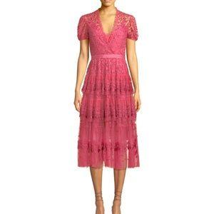Needle&Thread Layered Tulle Embroidered Midi Dress